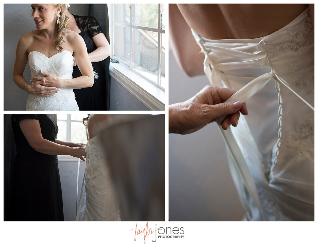 Bride putting on her dress detail photos at Perry Park bridal suite