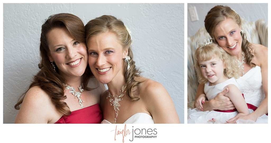 Bride with sister and niece