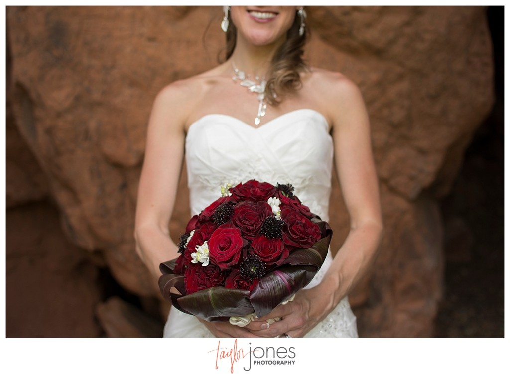 Bride portraits at Perry Park wedding with red rocks