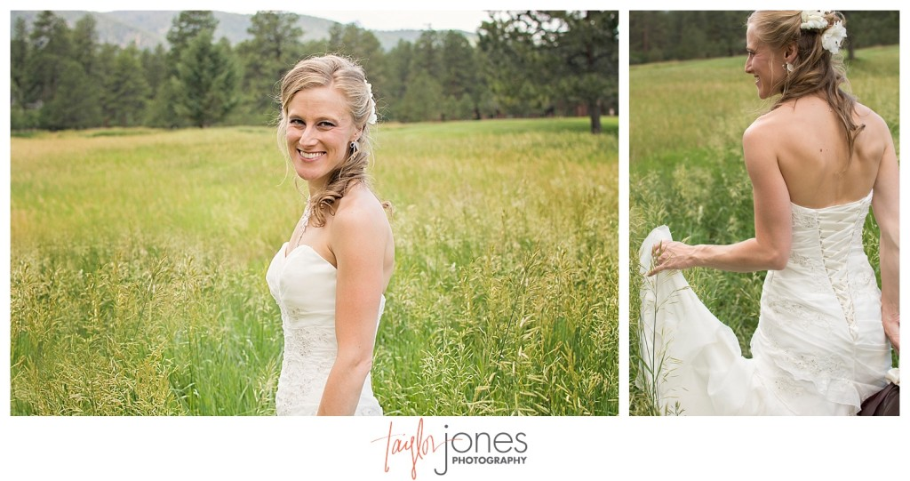 Bride portraits at Perry Park wedding in field