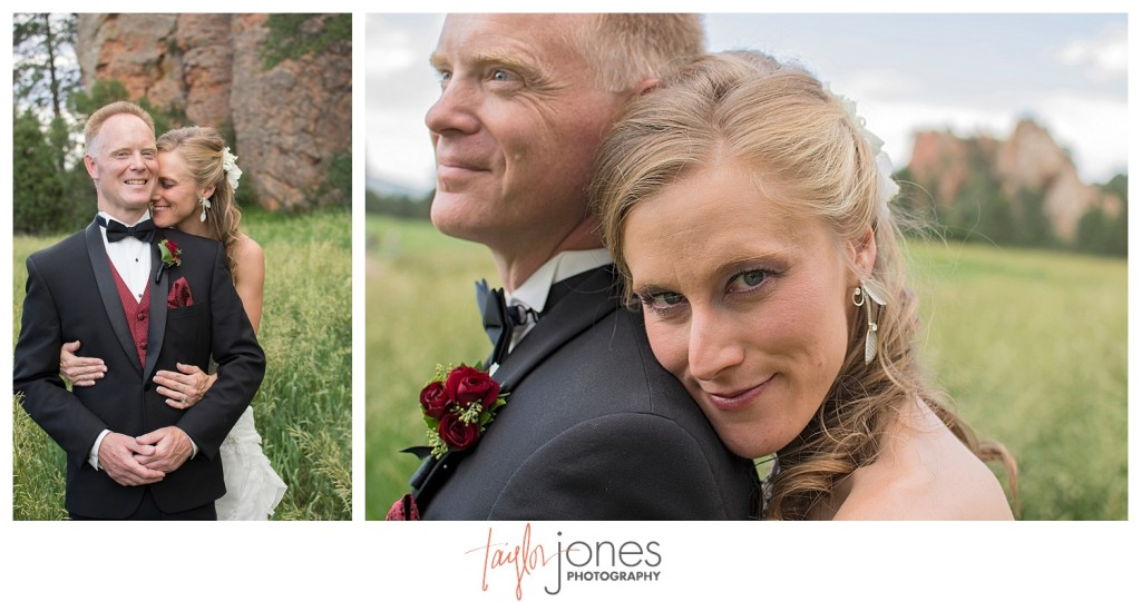 Bride and groom portraits at Perry Park wedding in field