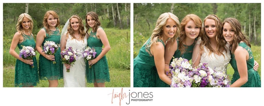 Bridesmaids and bride at wedding in Conifer Colorado