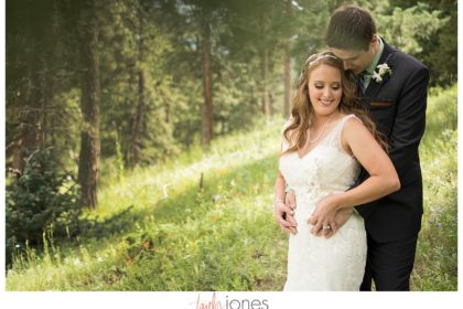 Couple at Rocky Mountain wedding in Conifer, Colorado