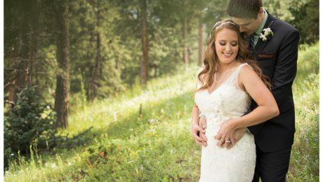 Couple at Rocky Mountain wedding in Conifer, Colorado