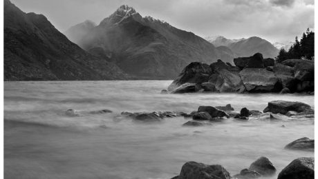 Black and white image of the Remarkables in Queenstown, New Zealand