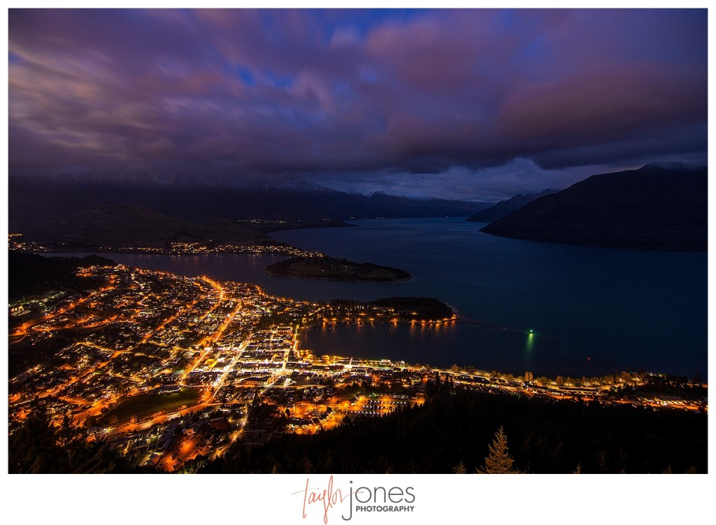 Sunset and night shot of Queenstown, New Zealand