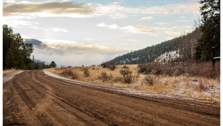 Sunrise on a dirt road with fog in South Fork, Colorado