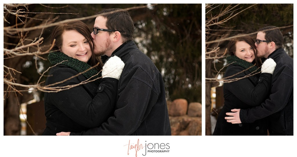 Red Rocks winter engagement shoot through rees