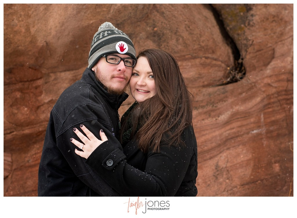 Red Rocks winter engagement shoot with snow