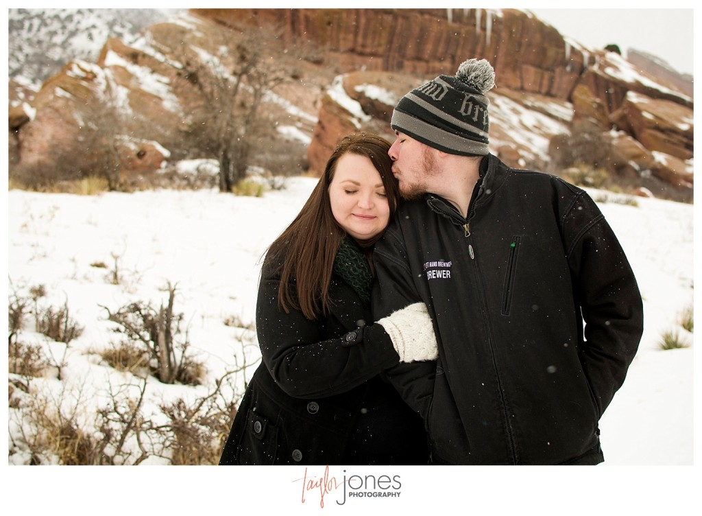Couple at engagement shoot at Red Rocks