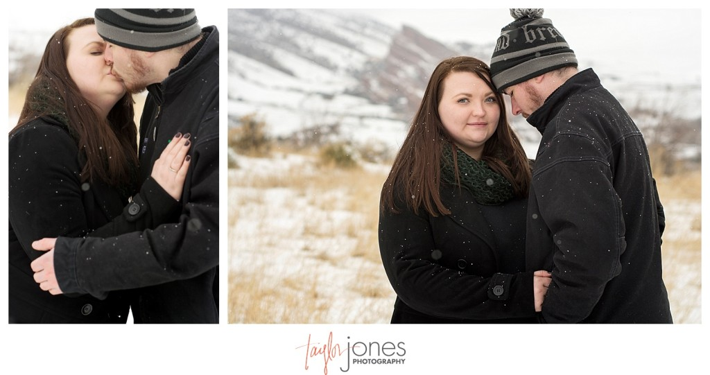 Snowy winter engagement shoot at Red Rocks