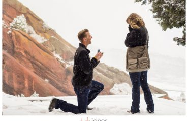 Red Rocks winter proposal in the snow