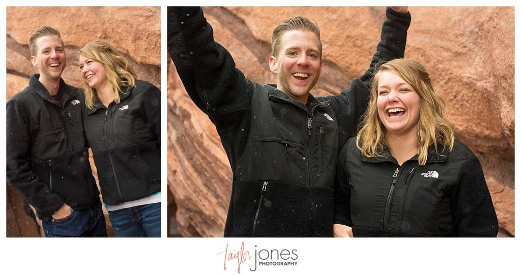 Groom and bride celebrating proposal at Red Rocks