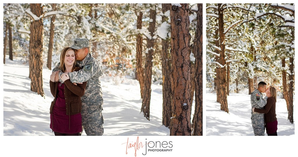 Army couple engagement shoot at Mt. Falcon Colorado