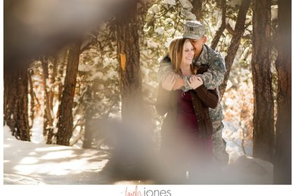 Army couple engagement shoot at Mt. Falcon, couple in trees