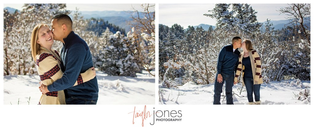 Mt. Falcon with mountains in background, winter engagement shoot