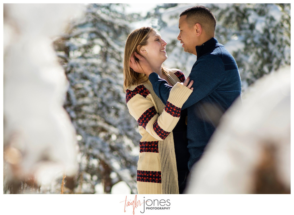 Winter engagement shoot with couple kissing in the trees at Mount Falcon