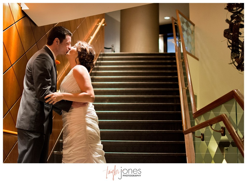 Couple kissing at first look at Denver wedding