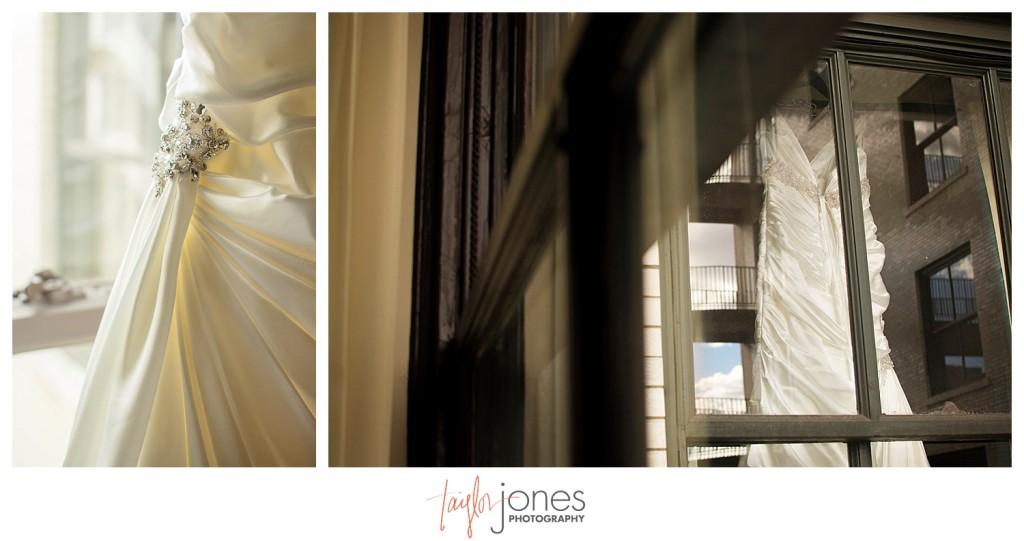 Dress hanging in window, Magnolia hotel
