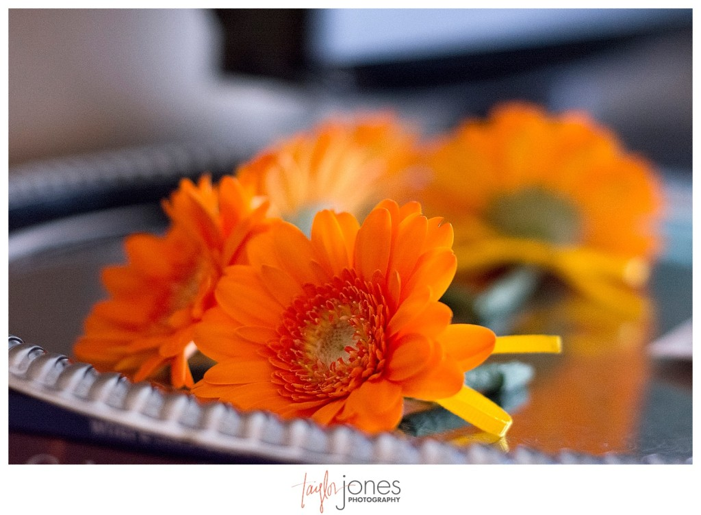 Orange daisy boutonniers