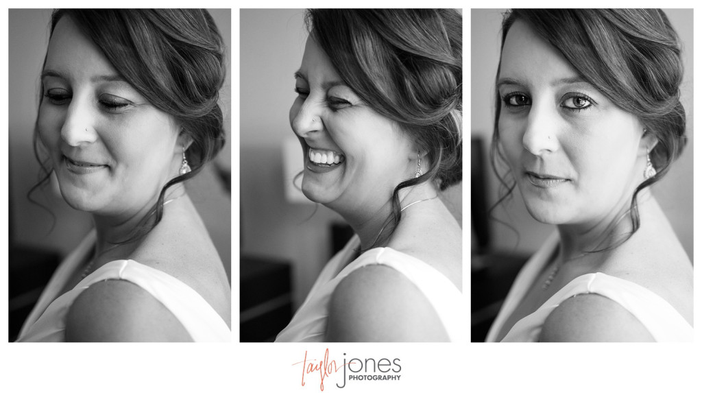 Black and white images of bride at Denver wedding getting ready