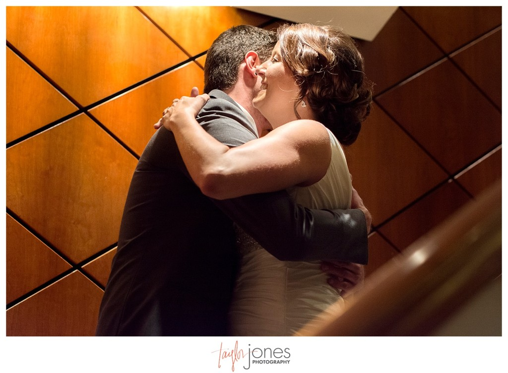 Couple hugging at Denver first look at Magnolia Hotel