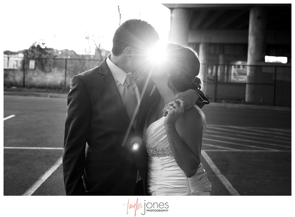 Bride and groom at Mile High Station wedding, black and white