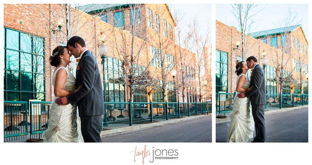 Bride and groom at Mile High Station wedding