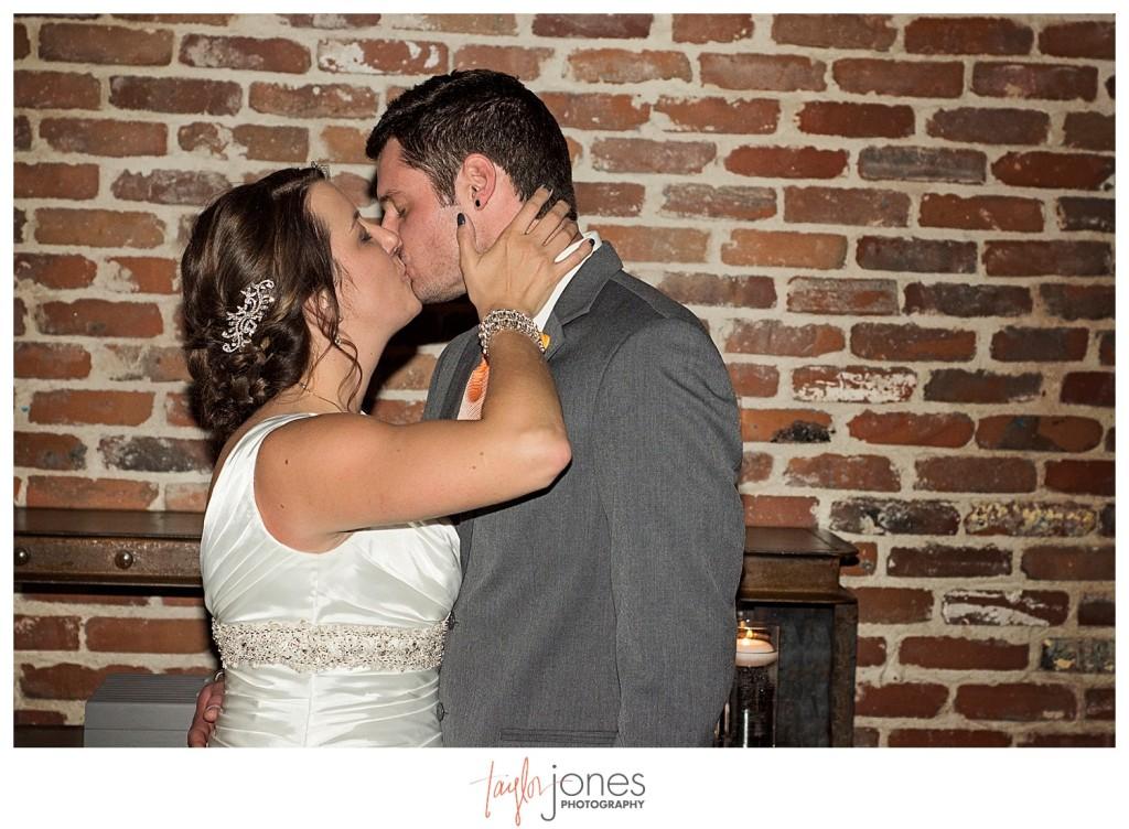 Couple at Mile high station wedding denver colorado