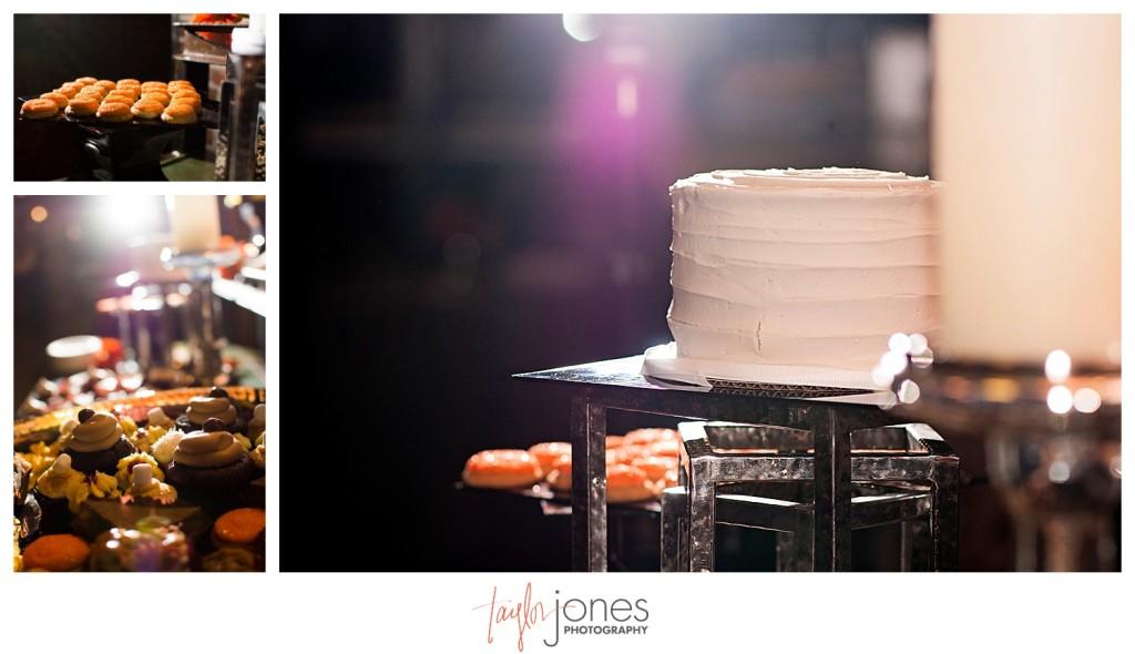 Wedding cake and desert table at Mile high station wedding denver colorado