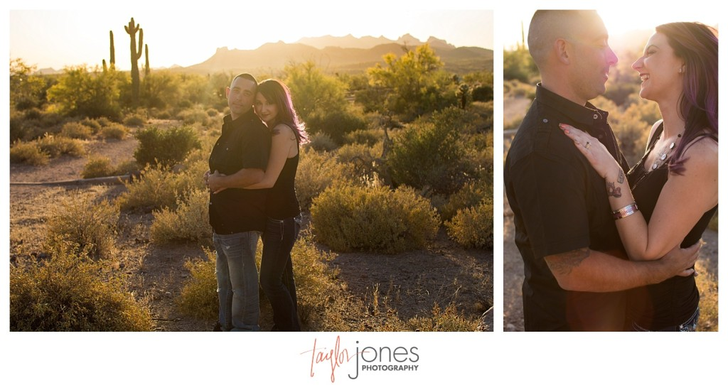 Sunset at Lost Dutchman State Park, engagement shoot
