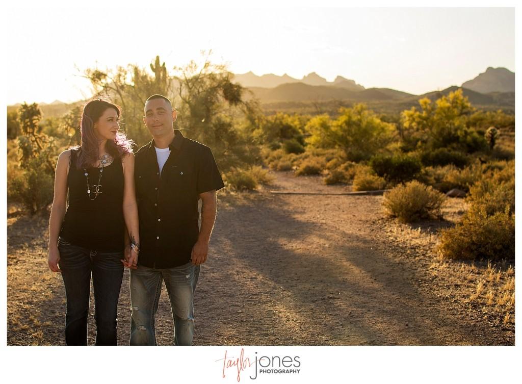Bride looking at groom at engagement shoot at sunset in Phoenix Arizona