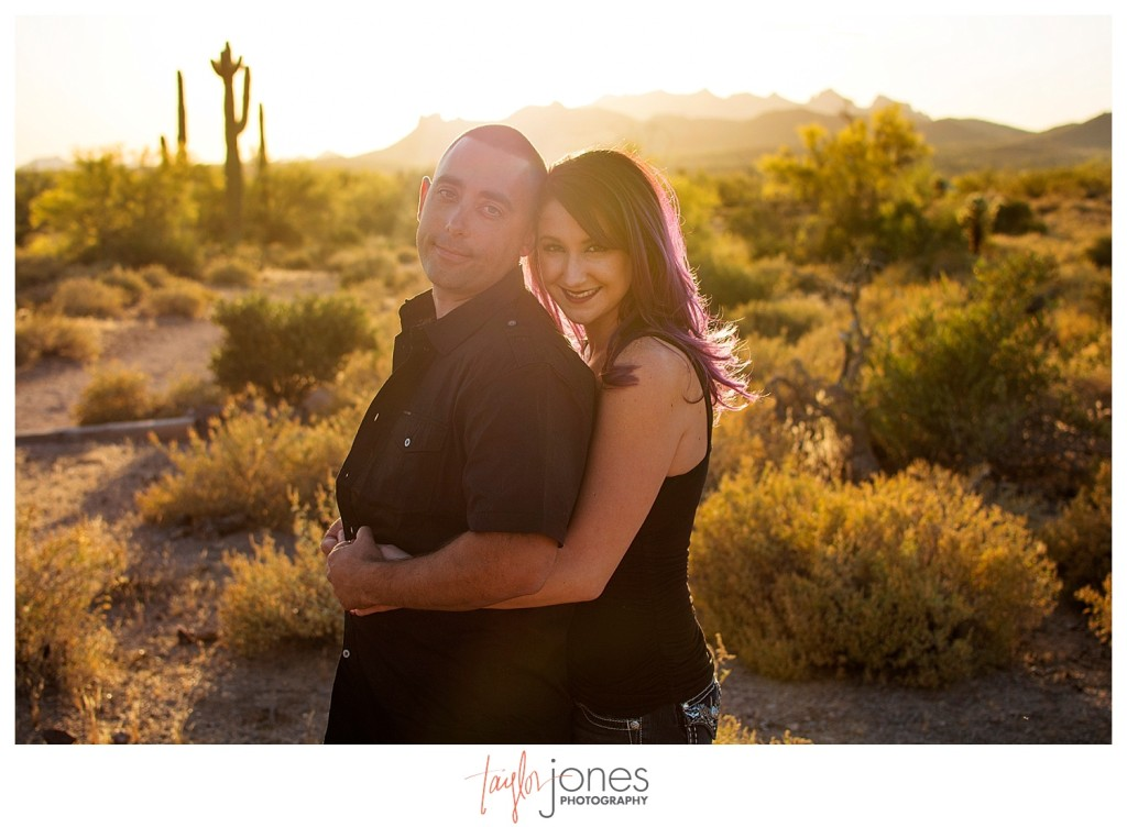 Couple at sunset in the desert