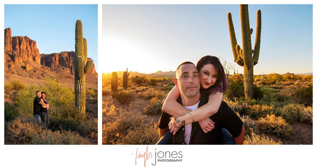 Couple with cactus at park in Arizona