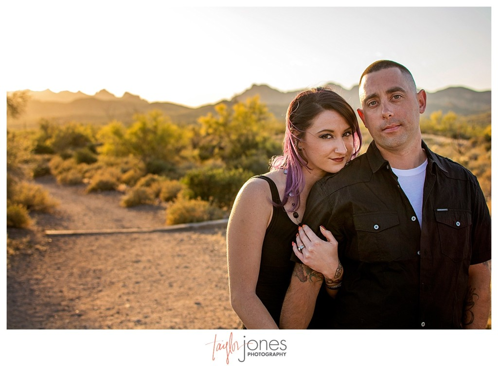 Couple at engagement shoot at Lost Dutchman State Park