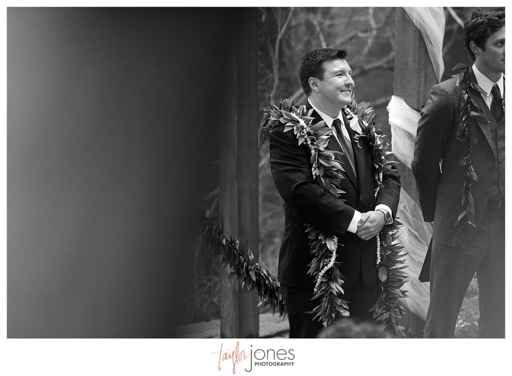 Groom at the alter at Pines at Genesee wedding