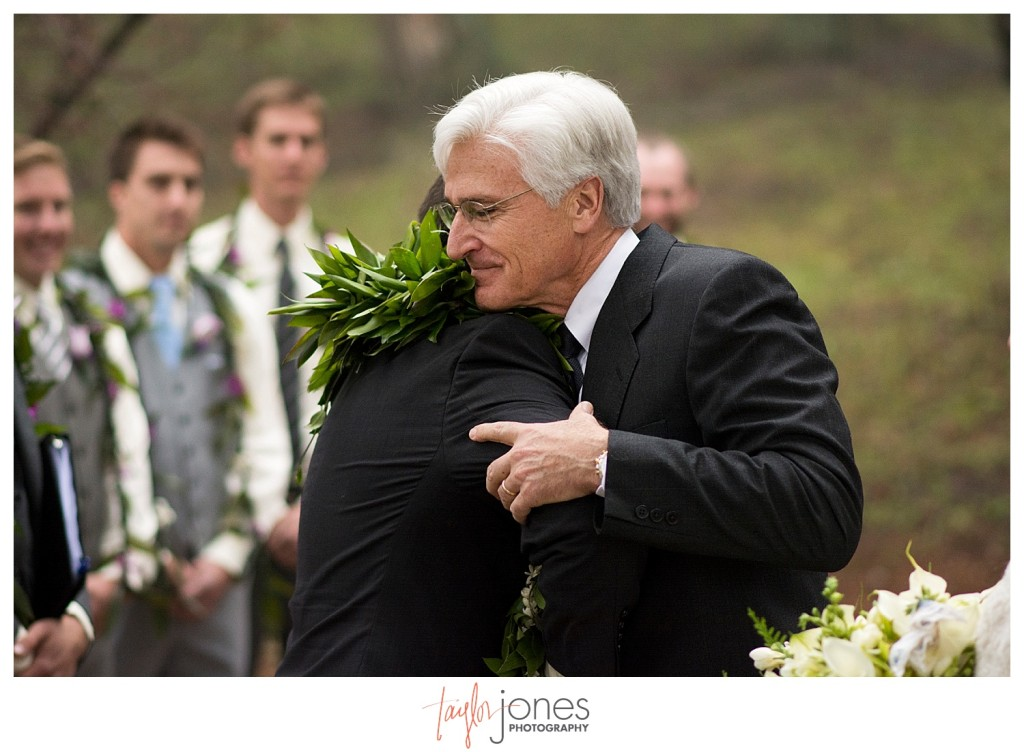 Father of the bride and groom at Pines at Genesee wedding ceremony