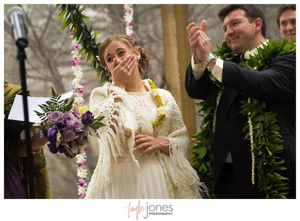 Bride laughing at Pines at Genesee wedding