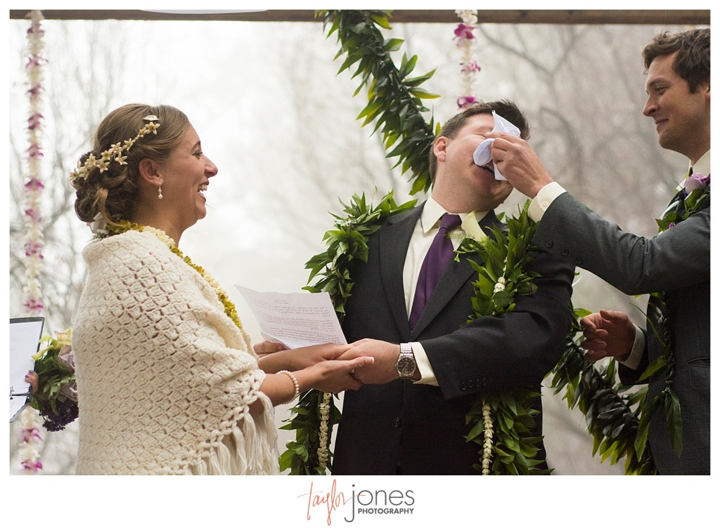 Groom crying during vows at Pines at Genesee wedding ceremony