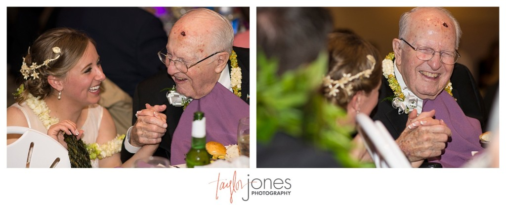 Bride and grandfather at Reception at Pines at Genesee wedding