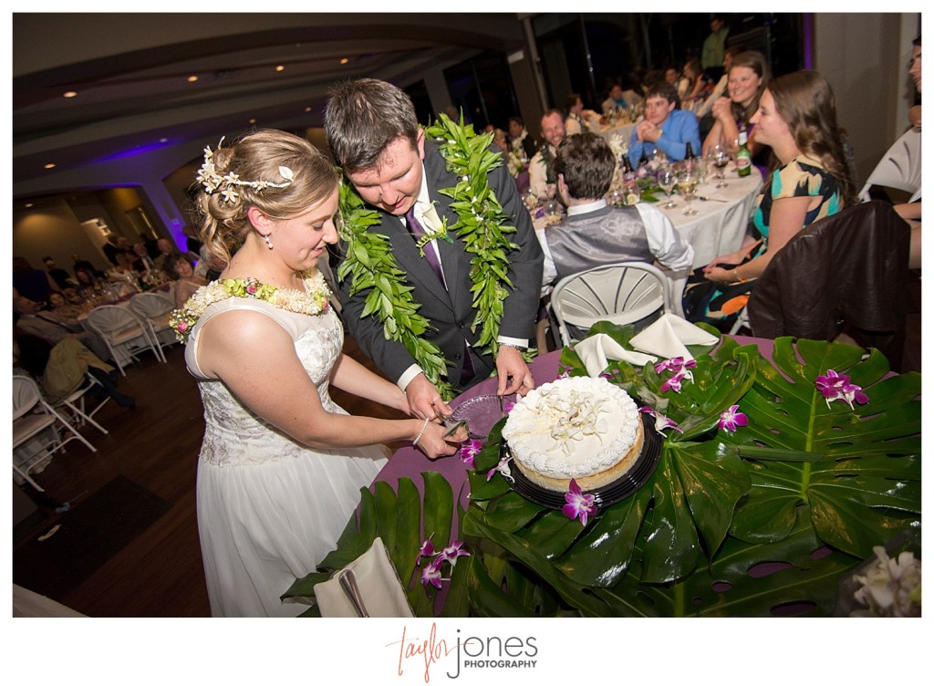 Cake cutting at Reception at Pines at Genesee wedding