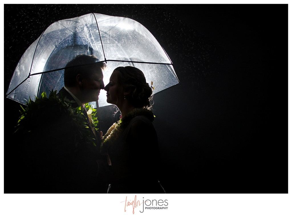 Bride and groom under umbrella at Pines at Genesee