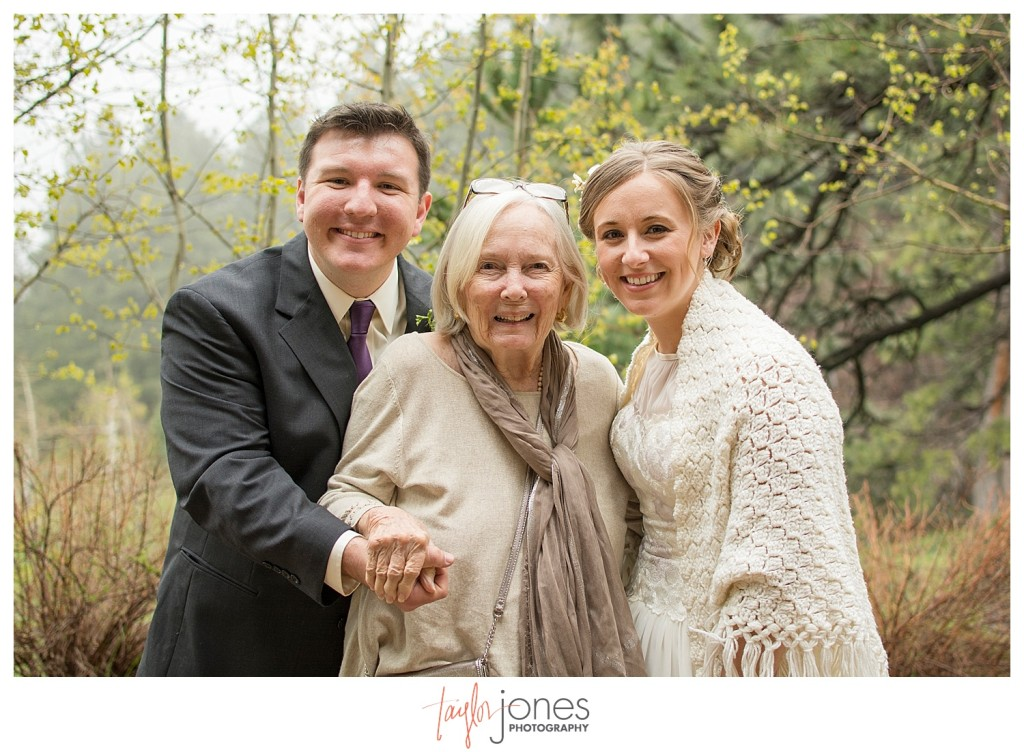Nick and Kathleen bride and groom portraits with grandmother at Pines at Genesee wedding