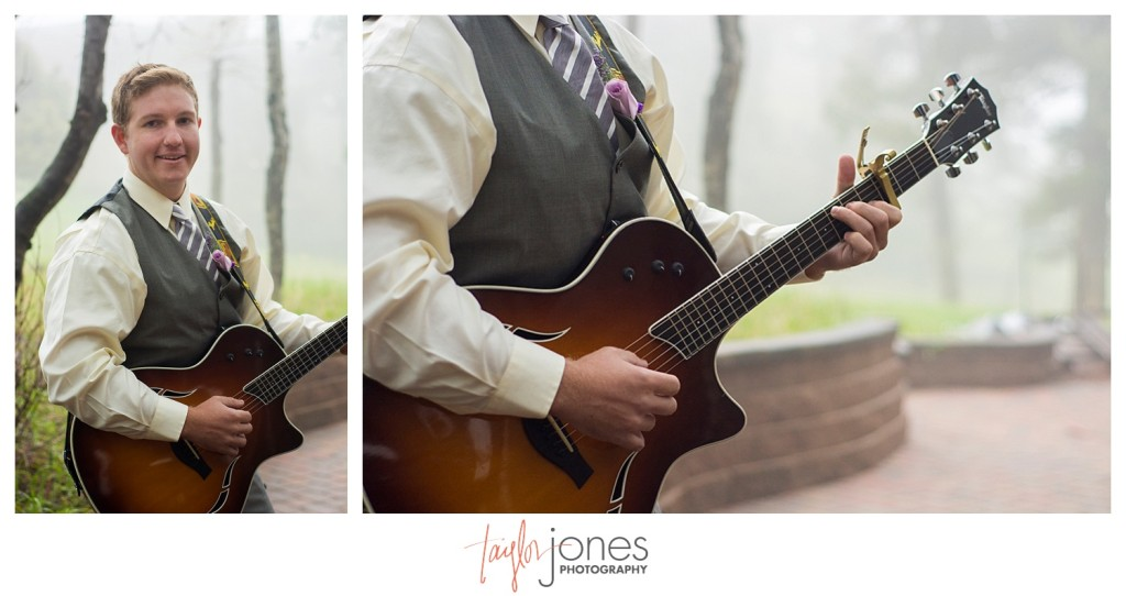 Brother of the groom playing music at the Pines at Genesee spring wedding