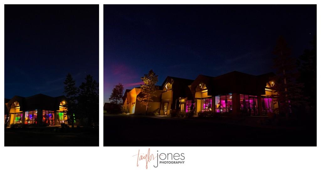 Night shot at Pines at Genesee wedding reception