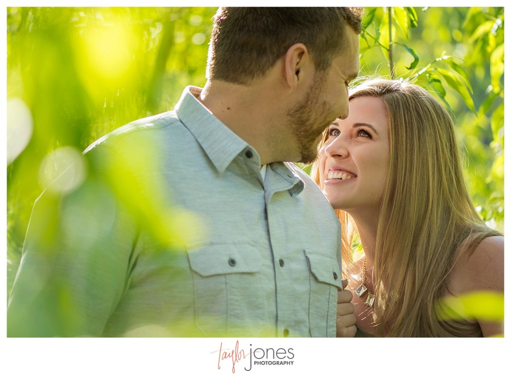 Couple kissing in trees