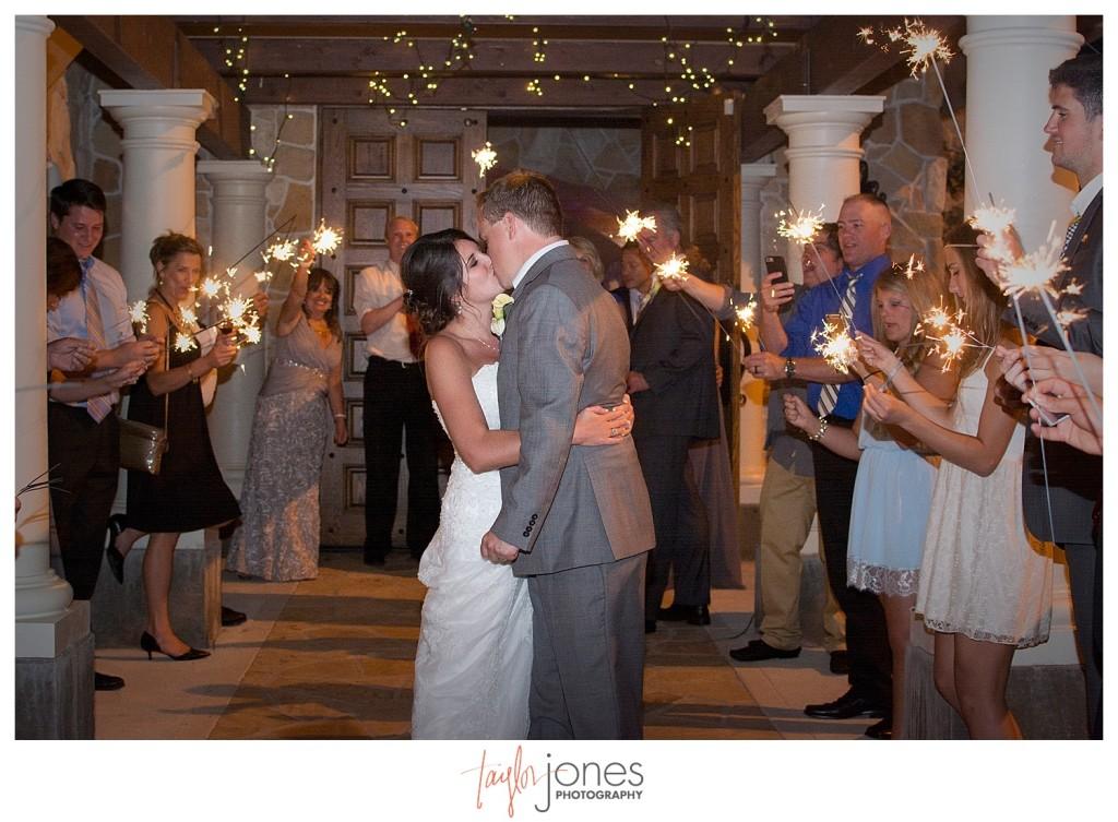 Reception at Baldoria on the water wedding Denver Colorado sparkler exit
