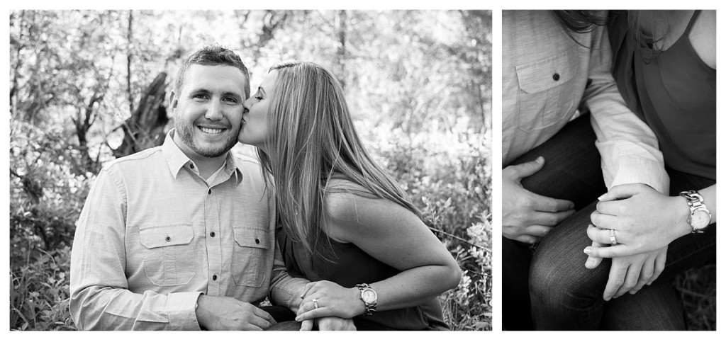Colorado engagement shoot at Lair O the Bear bride kissing groom black and white