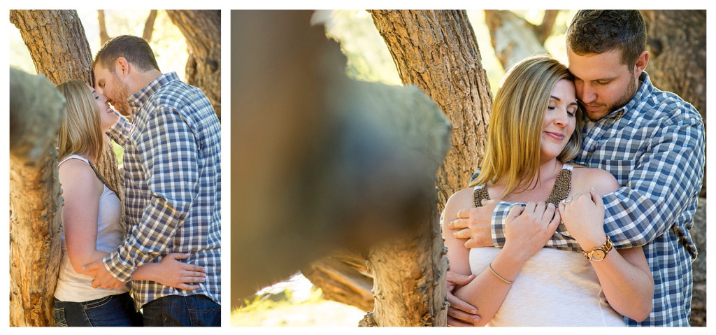 Colorado engagement shoot at Lair O the Bear couple in tree kissing