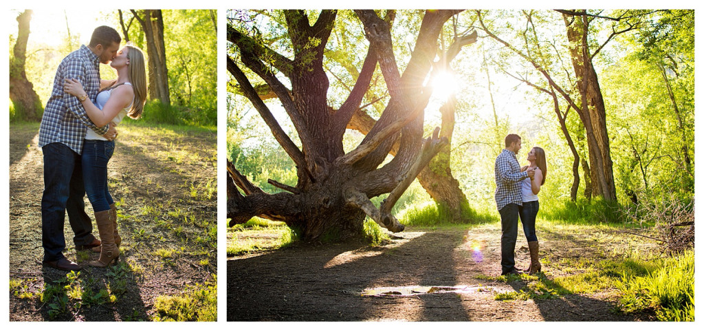 Colorado engagement shoot at Lair O the Bear couple dancing in sunlight and trees